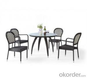PE Rattan Tempered Glass Restaurant Dining Table And Chair Sets