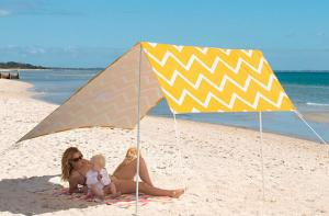 Beach Tent Cotton Canvas Beach Shade Tent with Plastic Carry bag