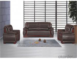 Office Sectional Leather Sofa with Wood Frame