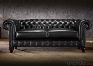 Regent Chesterfield Sofa with Black Leather