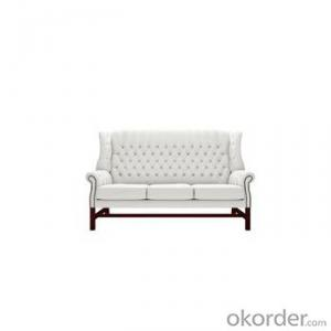 Belgravia Footstool with White Leather Cover