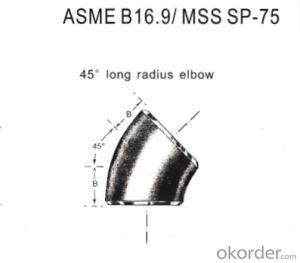 Stainless Steel Pipe Fittings Butt-Welding 45° Long Radius Elbows
