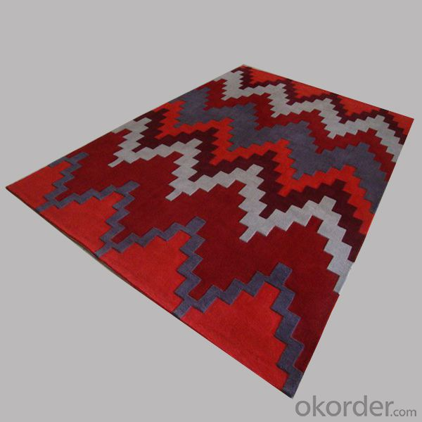 Wool Rug with Stripe Shape Made from China Factory