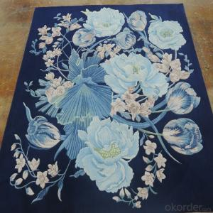 New Zealand Wool Rug Hand Embroidered with Modern Design