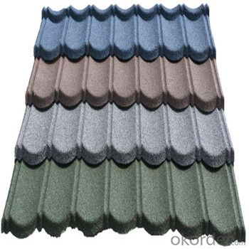Stone Coated Metal Roofing Tile Heat-Resisting Colorful Stone Red Green Blue New Products
