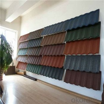 Stone Coated Metal Roofing Tile Red Green Blue Grey Color Diversity