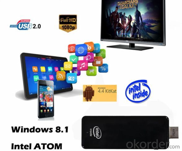 Intel Mini PC Dongle Z3735F Quad Core Windows8