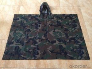 2015 New Design Camouflage Rain Coat Polyester 100% Waterproof Men's Rain Suits