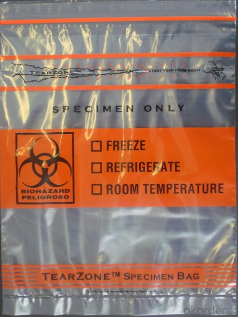 Printed Plastic Biohazard Specimen Bag for Packaging