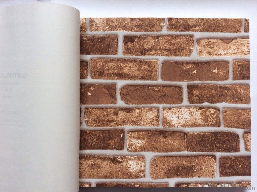 PVC Wallpaper Vinyl Covered Good Quality Brick Design Wallpaper for Home Decoration