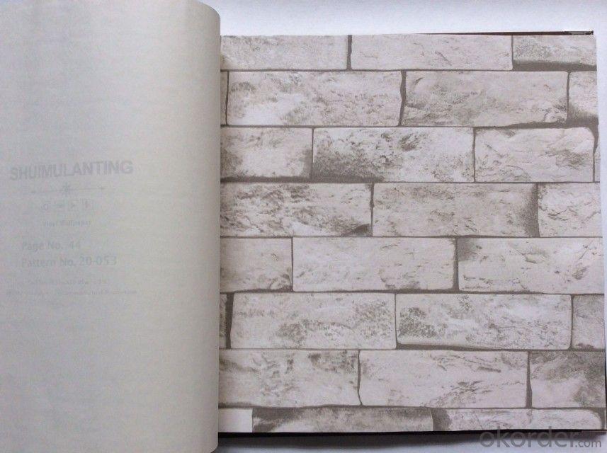 PVC Wallpaper Vinyl Covered Deep Embossed Black and White 3d Stone Brick Design