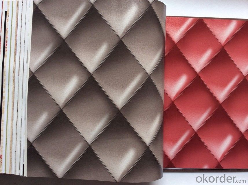 PVC Wallpaper Vinyl Covered 2015 Hot Sale New Design Artificial PVC Leather for 3d Wallpaper