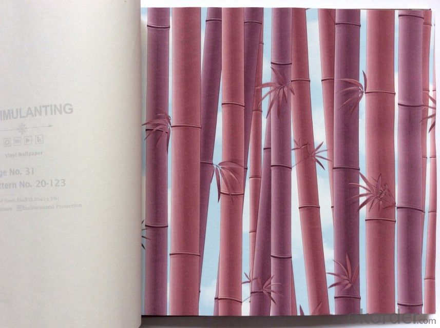 PVC Wallpaper Vinyl Covered Good Quality Washable Wallpaper PVC Bamboo Wallpaper