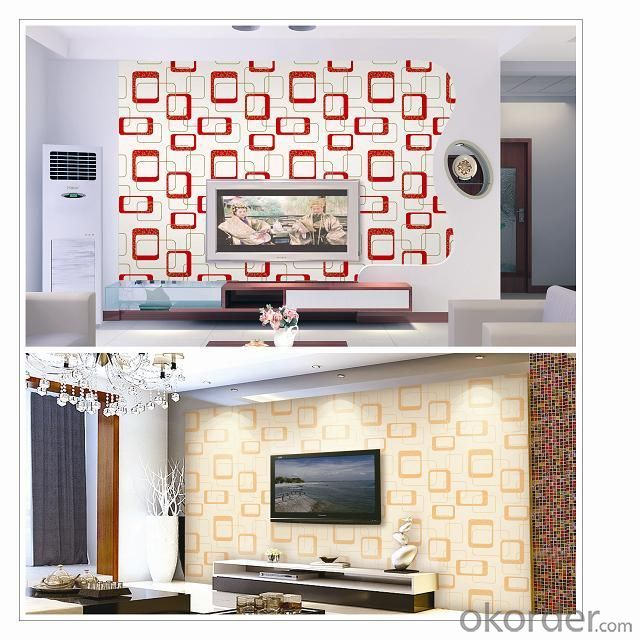 PVC Wallpaper Vinyl Covered Project Home with Kinds of Styles in Low Price