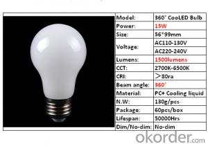 LED Lighting Bulb High Quality 360° Cooling 15W Products Sale