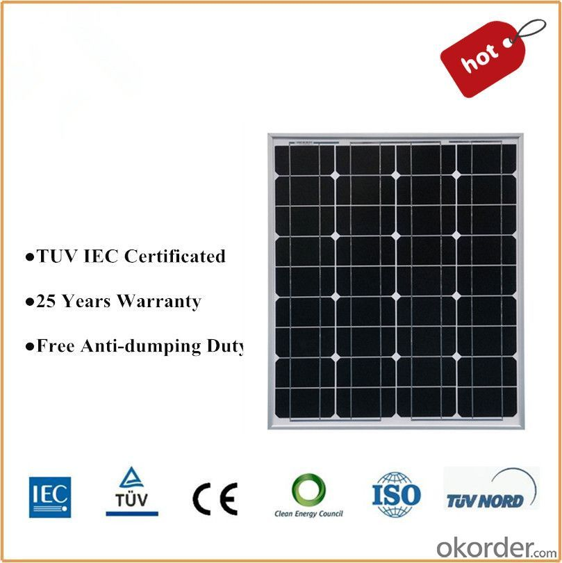 Solar Panel(100w mono) with TUV and UL Certification