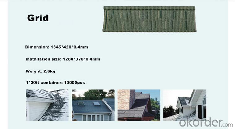 Shake Grid Stone Coated Metal Roofing Tile