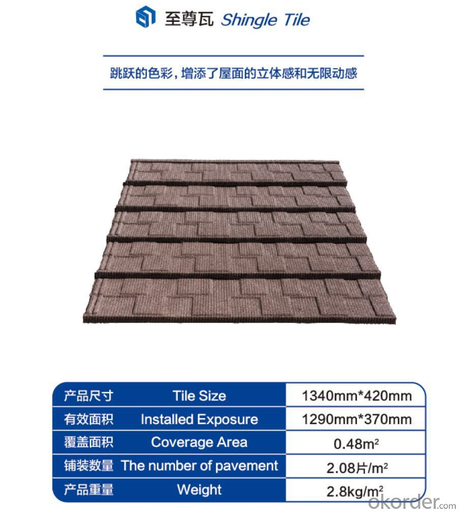 Colorful Stone Coated Steel Roofing Tile--Shingle Tile