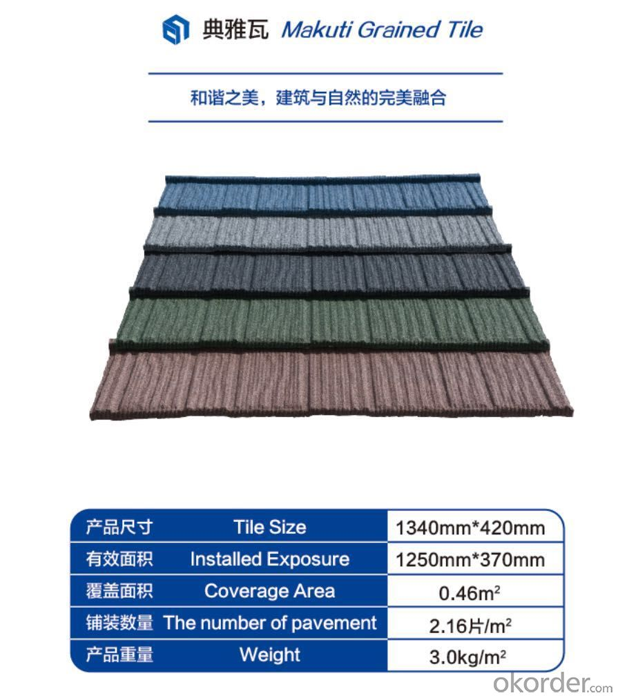 Colorful Stone Coated Steel Roofing Tile--Makuti Grained Tile