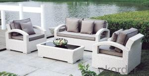 Wicker Conversation Set in White with Green Cushions