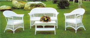 Wicker Conversation Set in White 5 piece