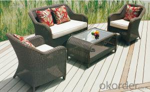 Wicker Conversation Set in Honey with White Cushions