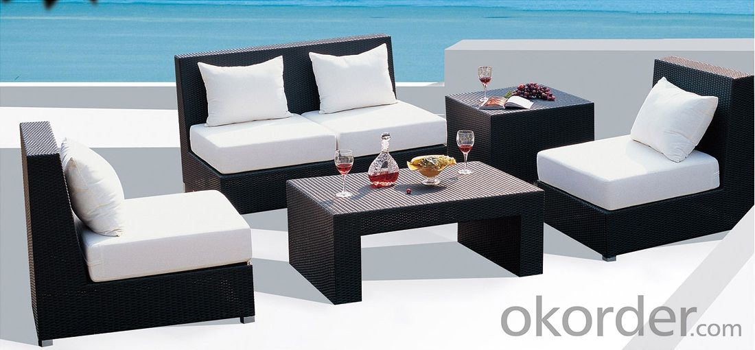 Outdoor Patio Set Wicker in Espresso with White Cushions