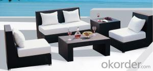 Outdoor Patio Settee Set Valencia 4 Piece in Antique Black