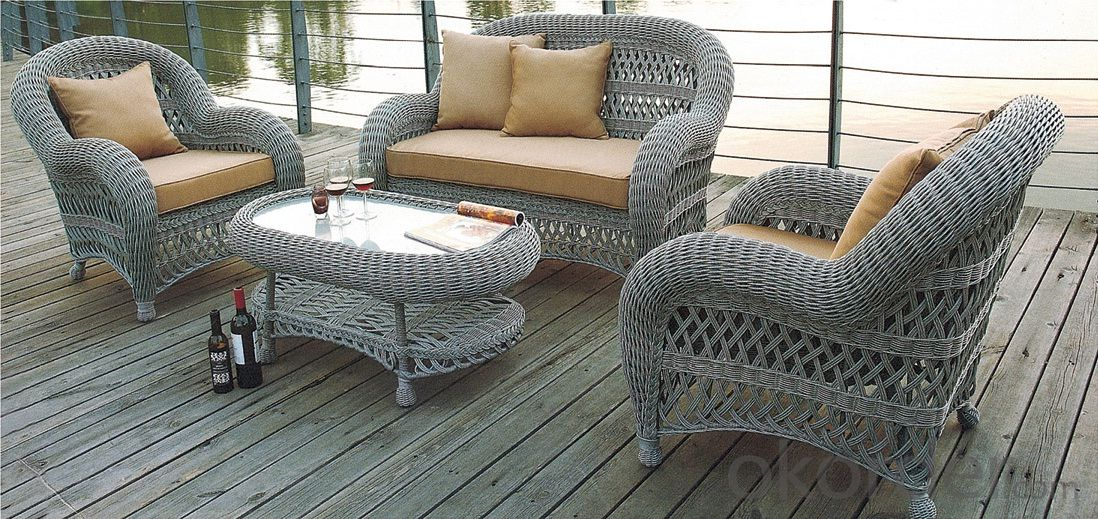 Patio Loveseat Coffee Table Set with Cushions