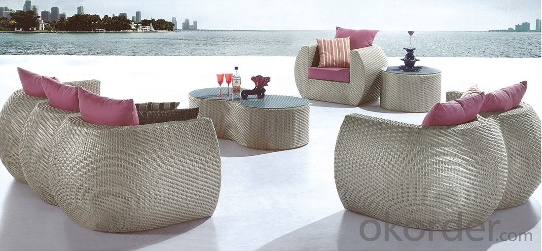 Wicker Seating Set in Espresso with Tan Cushions