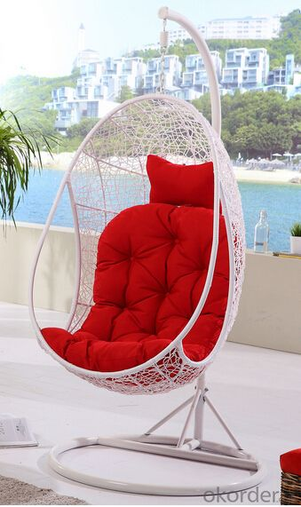 Rattan Wicker Swing Chair with Colorful Seat Cushion