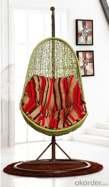 Hanging Chair Swing White Green Metal/ Rattan