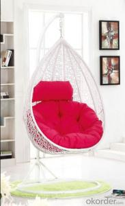 Outdoor Swinging Chair White Wicker Tear Drop