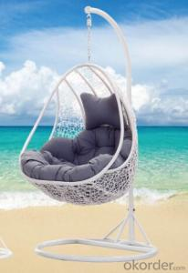 Outdoor Swinging Chair Black Color Garden Wicker
