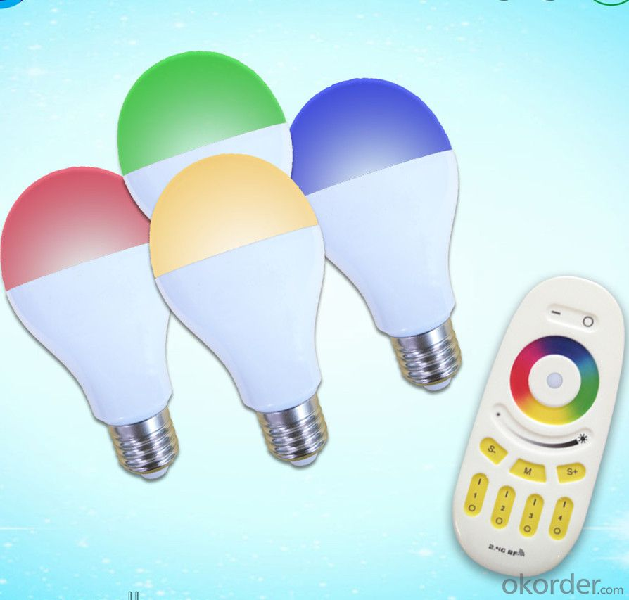 LED bulb LED 2.4G remote bulb 2.4G Grouping RGBW bulb (9W Plastic cover the aluminum)