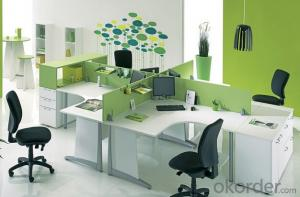 Office Workstation Modern Wooden Green Partition