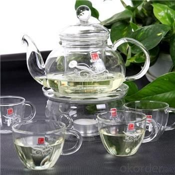 Hand Made Glass Teapot 600ml and Cups / Glass Tea Pot / Tableware / Drinking Glasses