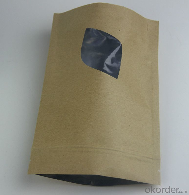 Glossy PE Laminated with Kraft Paper Bag with Bottom Gusset for Packing