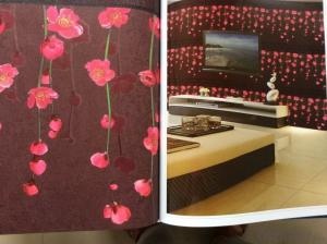 PVC Wallpaper Country Flower PVC Heavy Deep Embossed Hot New Wallpapers Modern House Design