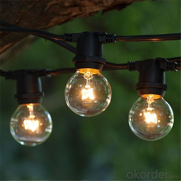 UL Cetificited G40 Globe Christmas Decorative Light Outdoor String Lights with 25 Clear Bulbs