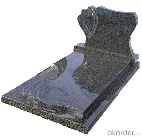 Chinese Grey Granite Headstone and Tombstone with Simple Design for Poland