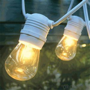 Outdoor Commercial String Lights with S14 Bulbs 48 Feet String Light with 15 Rubber Socket UL listed