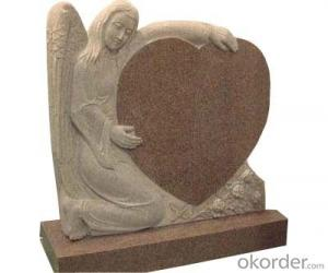 Cheap Grey Tombstone and Headstone with Heart Design and Simple Design