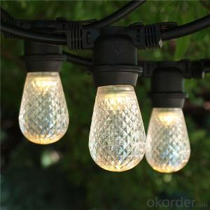 Incandescent S14 Globe Bulbs 48 Feet Black Wire Outdoor Italian String Lights