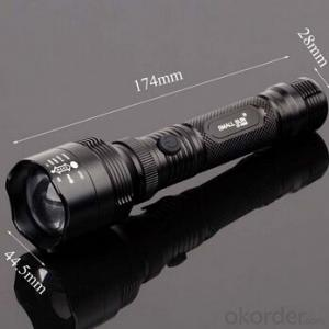 Telescopic Focusing Lens XPE R2 LED Bulb 4 Modes 1x18650l Batt Anodized Aluminum Alloy Flashlight