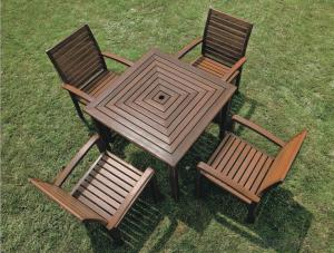 Poly Wood Round Table Antique Wooden Outdoor Furniture Dining Set