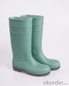 Green PVC Working Safety Boots with Steel Sole