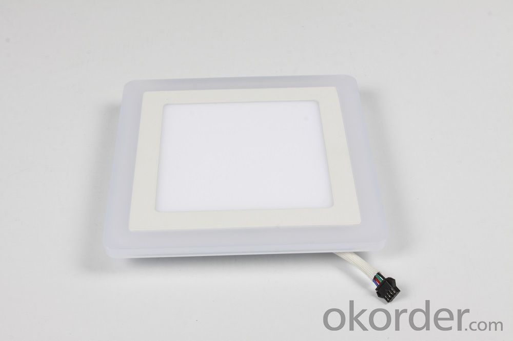 LED TWO COLOR PANEL LIGHT 6+3 W SQUARE  SHAPE RECESSED BLUE AND COLD WHITE