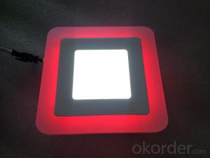 LED TWO COLOR PANEL LIGHT  6+3 W SQUARE  SHAPE RECESSED BLUE WITH COLD WHITE