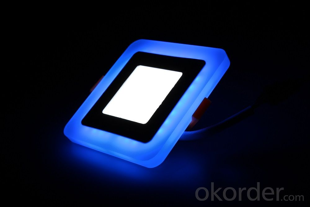LED TWO COLOR PANEL LIGHT  18+6 W SQUARE  SHAPE RECESSED BLUE WITH COLD WHITE